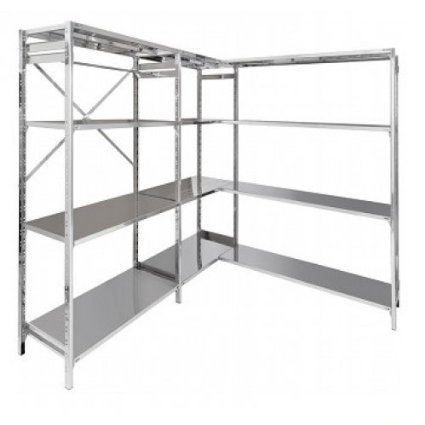 Stainless steel shelving unit for warehouse organisation 60x50x150h cm