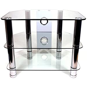 "Strand Clearview 3 - 600 Glass TV Stand with Cable Management for LCD TVs of up to 32"" with 3 toughened glass shelves"