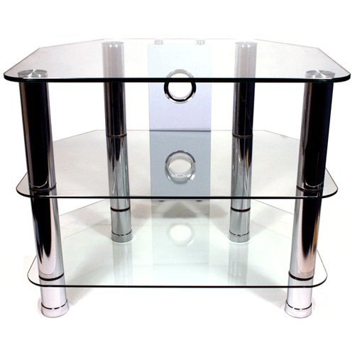 Strand Clearview 3 – 600 Glass TV Stand with Cable Management for LCD TVs of up to 32″ with 3 toughened glass shelves