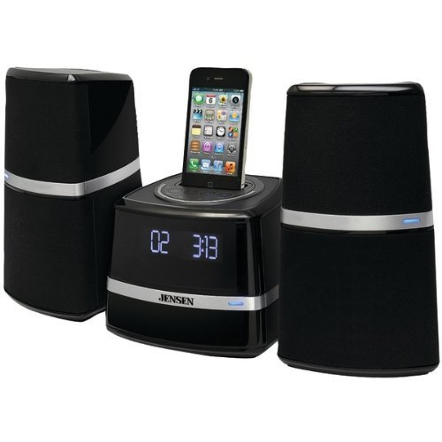 Jensen Jims-252I Universal Ipod/Iphone Docking Music System With Fm Digital Receiver, Blue Led Display, Pivoting Speakers, Aux Line-In And Remote