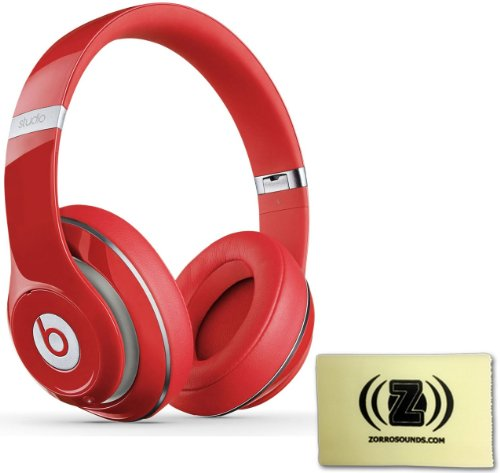 Beats By Dr. Dre Wireless Studio 2.0 Over-Ear Headphones (Red) Bundle With Custom Design Zorro Sounds Cleaning Cloth