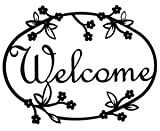VWI WEL-164 Floral Welcome Sign Powder Metal Coated