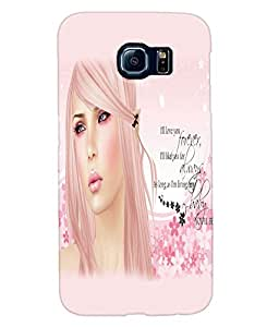 Fuson Sweet Girl with Text Back Case Cover for SAMSUNG GALAXY S6 - D3781