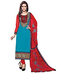 Inddus Women Blue & Red Color Dress Material