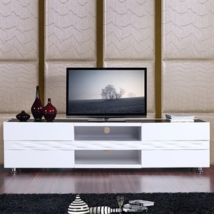 B-Modern BM-803-WHT Publisher TV Stand, High Gloss White (B005EL896W)