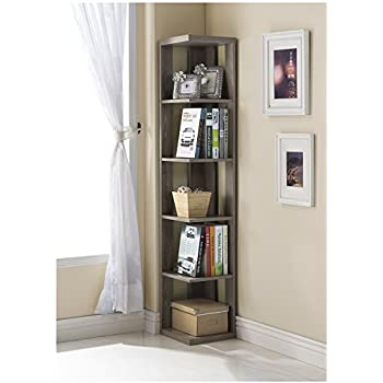 Dark Taupe Finish Wood Wall Corner 5-Tier Bookshelf Bookcase
