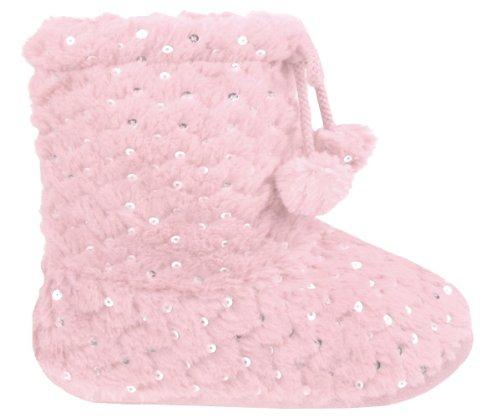 Capelli New York Textured Bunny Fur Boot With Tie & Pom Girls Indoor Slipper Ferry Fuchsia 12/13