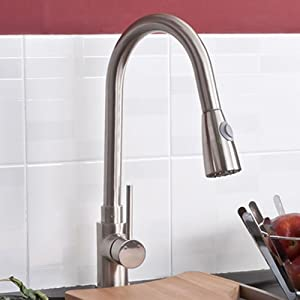 Erise Brushed Steel Kitchen Sink Mixer Tap with Pull Ou