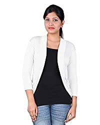 Nikita Womens Slim Fit Shrug (NAV-013_WHT, White, X-Large)