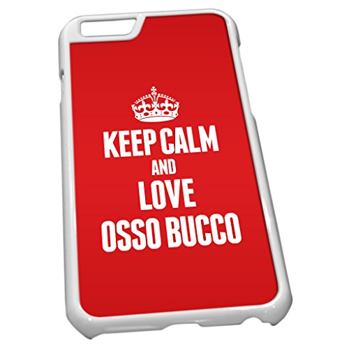 Blanc Coque pour iPhone 6 1333 Rouge Keep Calm and Love osso bucco