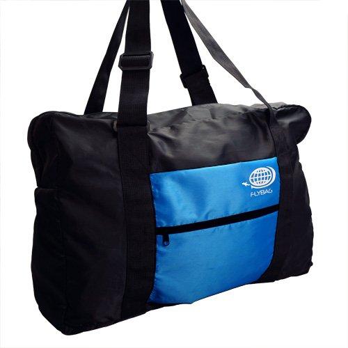 【折り畳みボストンバッグ・トラベルバッグ】 キャリーに通せる フォールディングバッグ FLY BAG-01 (ブラック×ブルー)