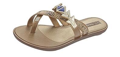 Grendha Glamour Thong femmes Flip Flops / Sandals - Bronze Snake - SIZE EU 37