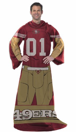 San Francisco 49Ers Comfy Throw Blanket With Sleeves - Player Style--(Package Of 2)