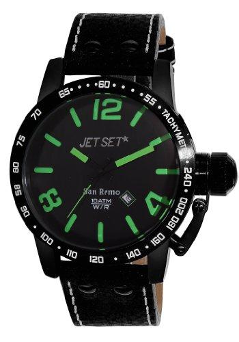 Jet Set J8458B-437 - Reloj analógico de cuarzo para hombre, correa de cuero color negro