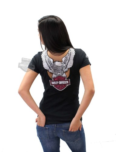 Harley-Davidson Womens Chrome Rider Eagle with B&S Cutout V-Neck Black Short Sleeve T-Shirt - MD