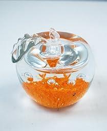 M Design Art Handcraft Clear Halo Orange Bottom in Clear Apple Paperweight PW-648