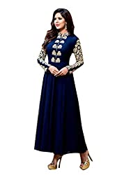 Samay Creation Navy Blue Georgette Embroidered Semi-stitched Anarkli Dress Material