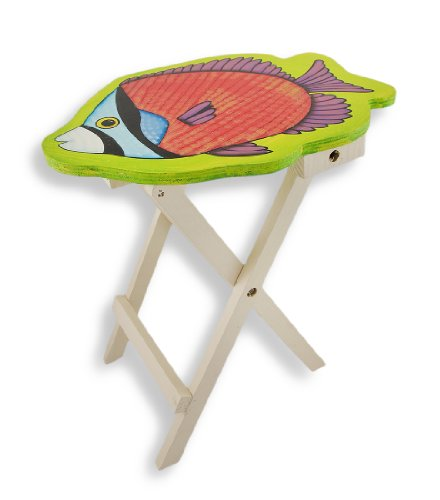 Bright Tropical Fish Folding Wooden Table 15 In.