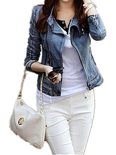 FCYOSO Womens Fashion Lapel Zipper Denim Jean Coat Blazer Moto Jacket