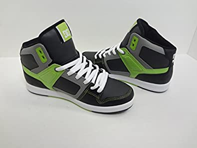 DC Factory Lite Hi M Shoe Kwl, Black/White/Soft Lime, 8D