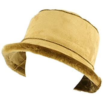 Winter Ladies Faux Fur Suede Crusher Crushable Foldable Bucket Ski Hat Cap Camel