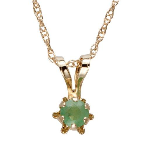 14k Yellow Gold Round Genuine Emerald Children's Buttercup Pendant Necklace (3mm ), 15