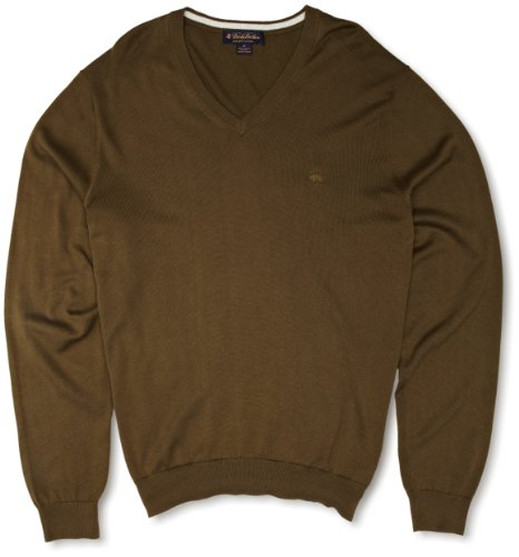 Brooks Brothers Long Sleeve Supima Vee Men's Jumper Olive Small