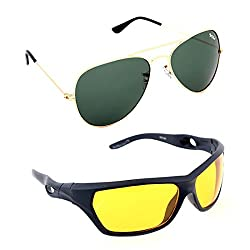 Elligator Stylish Gold Green And Nightvision Yellow Sunglasses Combo ( Set of 2 )