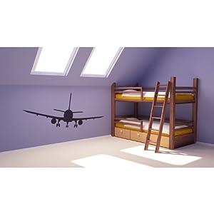 Linea Aerea Comercial Pegatina de Pared. Arte de Pared Avion disponible en 5 tamaños y 25 colores