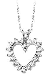14K Yellow/White Gold 7/8 ct. Diamond Heart Pendant with Chain