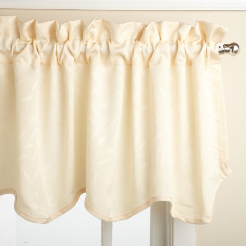 Black 1 pc Blackout 52-inch by 18-inch Scalloped Valance Window Curtain