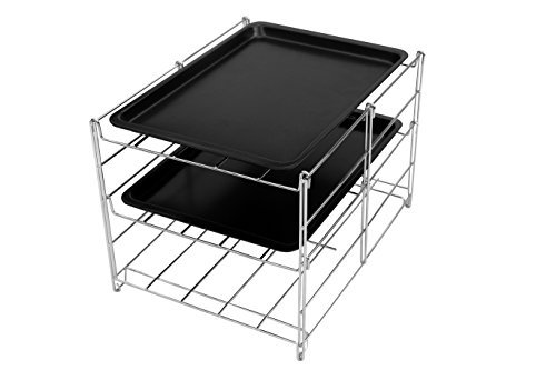MAKE THE BEST OF YOUR KITCHEN TIME & SAVE MONEY, make the oven more efficient. Check out this hot new 3 level oven rack. This rack comes with two non stick baking sheets and doubles as a cooling rack.