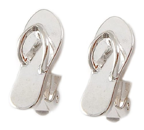 Silver Tone Metal Flip-Flop Clip-On Earrings