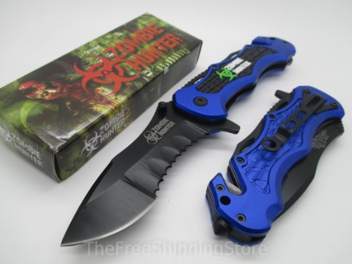 Z-Hunter Blue Tactical Rescue Quick Open Pocket Design Folding Knife Collector Serries