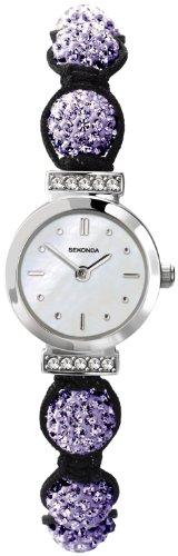 Crystalla by Sekonda Women's Quartz Watch with White Dial Display and Purple Nylon Strap 4715.27