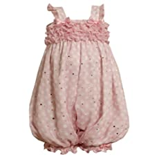 Bonnie Jean Baby-Infant 12M-24M Pink and White Dots and Ruffles Chiffon Romper