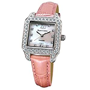 Cubic Zirconia Bezel Mother of Pearl Dial Sterling Silver Pink Leather Women's Watch