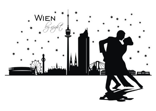 Wandtattooladen Wandtattoo - Skyline Wien by Night Größe:80x51cm Farbe: schwarz