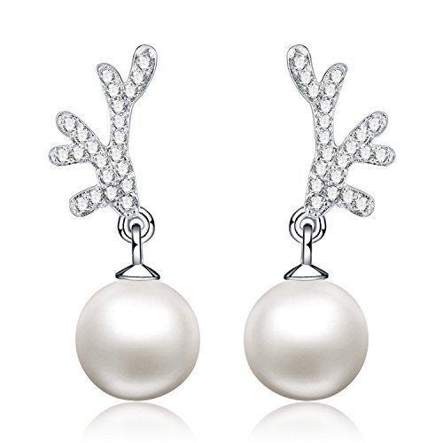 In argento sterling 925 - 8 mm naturale perla d'acqua dolce - Orecchini a forma di gufo per donne