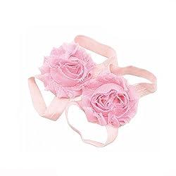 Bellazaara newborn Baby Barefoot Flower Light Pink Shabby Chic Flower Toddler Foot Flower sandal Shoes