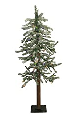4' Pre-Lit Frosted Alpine Artificial Christmas Tree - Multi Lights