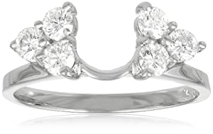 14k White Gold Round Diamond Solitaire Engagement Ring Enhancer (3/4 cttw, H-I Color, I1-I2 Clarity), Size 6