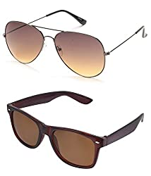 MagJons Brown Aviator wayfarer Sunglasses Set Of 2 (With Box)