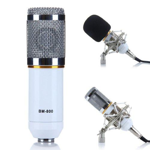 Excelvan® Bm-800 Condenser Microphone Cardioid Pro Audio Studio Vocal Recording Mic With Shock Mount (White)