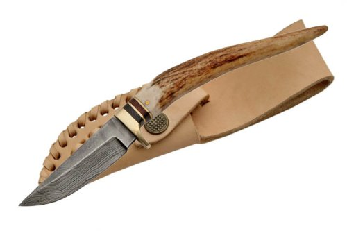 Damascus Knives - Stag Spike/Knife With Leather Sheath
