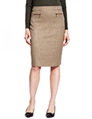 M&S Collection Bouclé Knee Length Pencil Skirt with Wool