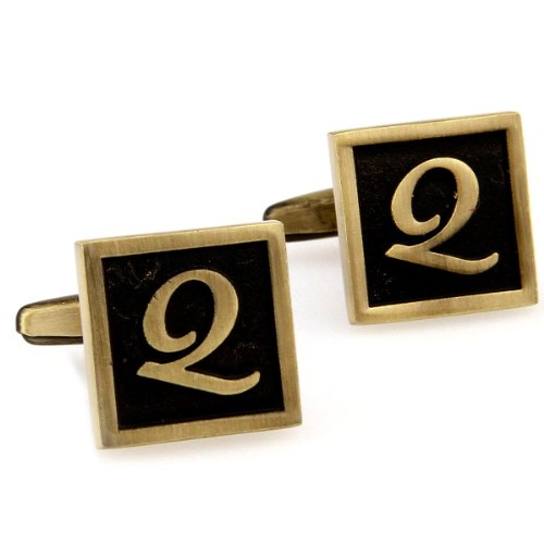 Santimon - Capital Letter Black Brass Electroplate White Steel 26 English Alphabet Letters Cuff Links Cufflinks With Gift Box 167779-Q