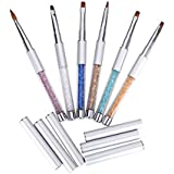 MAKARTT 6PCS Sable Acrylic Nail Gel Brush Pen Set With Roll Up Bag