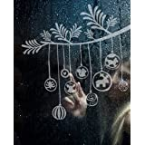 """Fenstertattoo - Motiv """"Christbaumkugeln"""" aus Milchglasfolie in Farbton TRANSPARENT mit Silberglitzervon """"Lovala"""""""