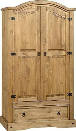 Corona 2 puertas y 1 cajón de armario, pino macizo, estilo fretboardhfs, almacenamiento, barra para colgar